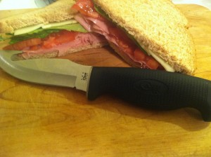 A delicious sandwich made with the Case Lightweight Hunter
