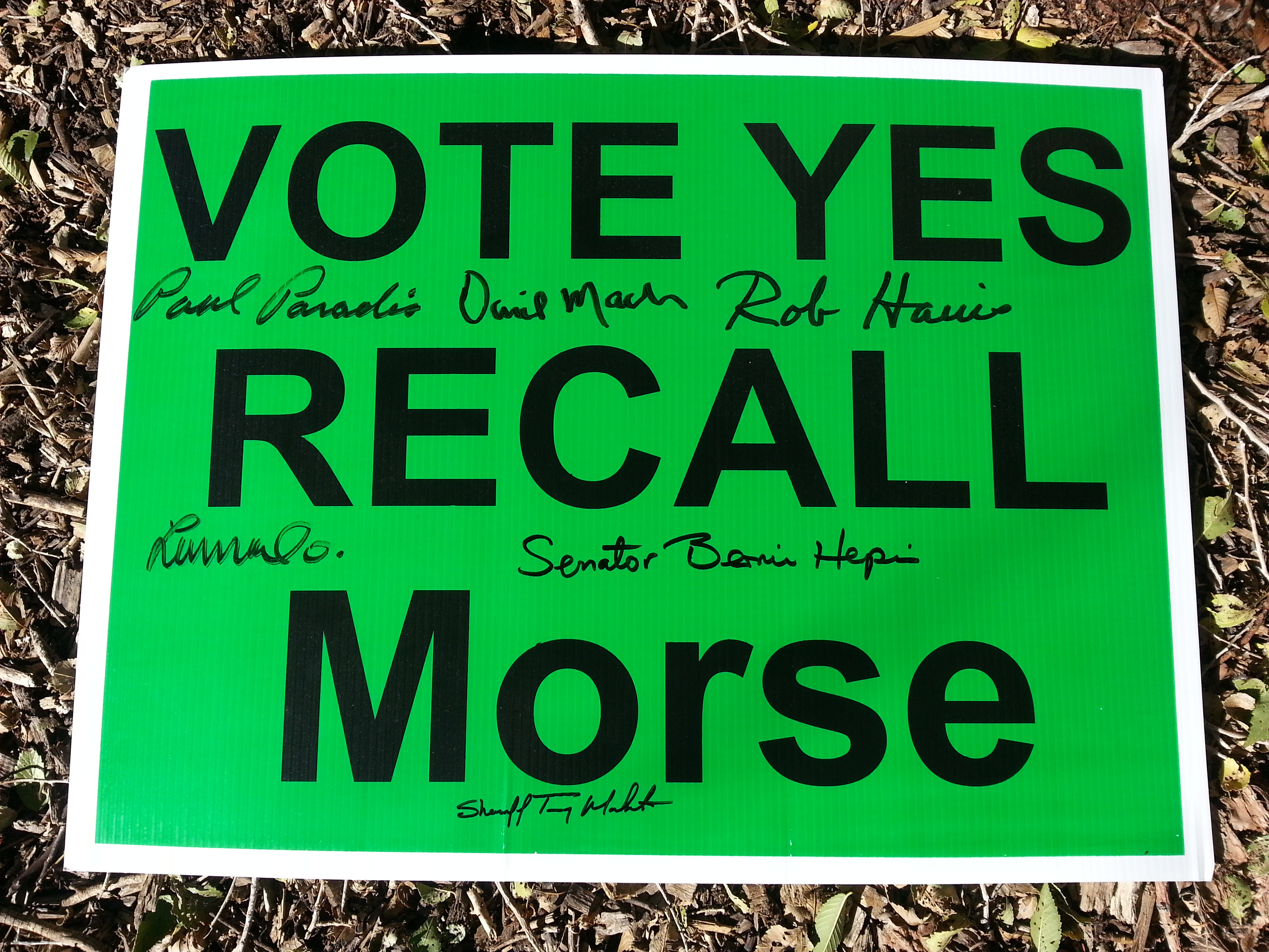 Signed Recall Morse Yard Sign up for auction