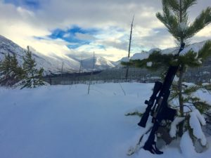 The Mod X on a snowy hunting trip